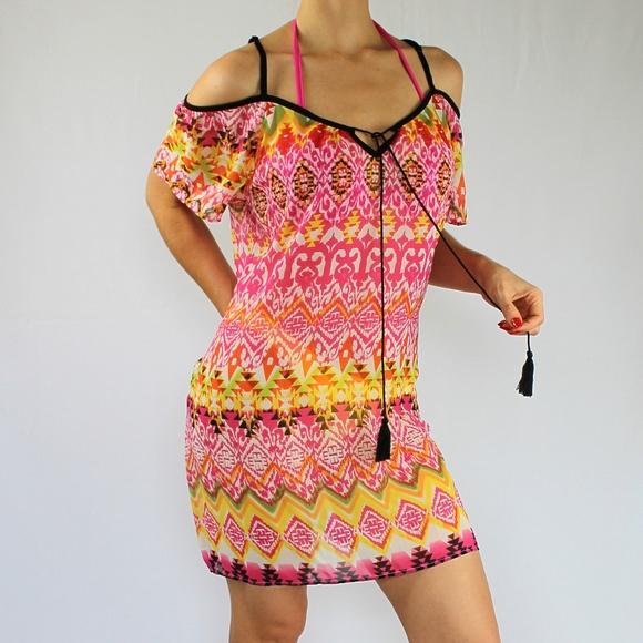 227532a59a658 VENUS Cold Shoulder Print Cover-UP Dress, NWOT. M_5c0eff629539f7419f2b0e8a